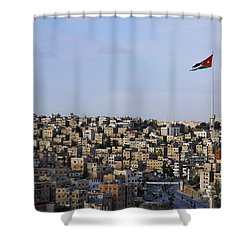 Jordanian Flag Flying Over The City Of Amman Jordan Shower Curtain by Robert Preston