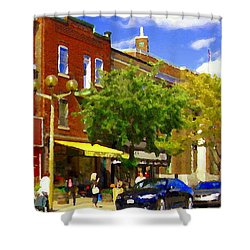 Jos Pappos Furs Street Scene Suburban Shops And Store Fronts Sherbrooke Montreal Carole Spandau Art  Shower Curtain by Carole Spandau