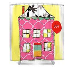 Joy House Card Shower Curtain by Linda Woods