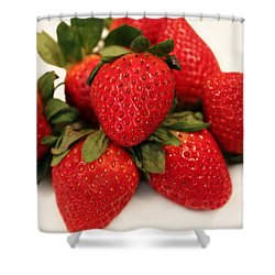 Juicy Strawberries Shower Curtain by Barbara Griffin