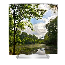 July Fourth Duck Pond With Goose Shower Curtain by Byron Varvarigos