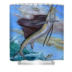 Jumping Sailfish Shower Curtain by Terry Fox