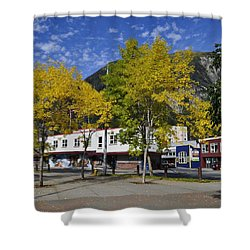 Juneau In The Fall Shower Curtain by Cathy Mahnke