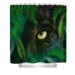 Jungle Eyes - Panther Shower Curtain by Carol Cavalaris