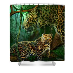 Jungle Spirit - Leopard Shower Curtain by Carol Cavalaris