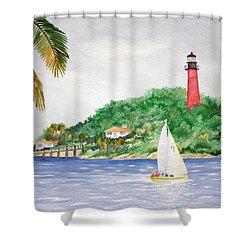 Jupiter Inlet Lighthouse Shower Curtain by Jeff Lucas