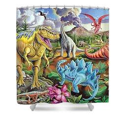 Jurassic Jubilee Shower Curtain by Mark Gregory