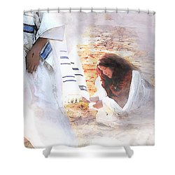 Just One Touch Shower Curtain by Jennifer Page