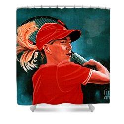 Justine Henin  Shower Curtain by Paul Meijering