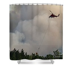 Shower Curtain featuring the photograph K-max Helicopter On Myrtle Fire by Bill Gabbert
