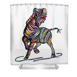 Kaleidoscope Zebra -- Baby Strut Your Stuff  Shower Curtain by Eloise Schneider