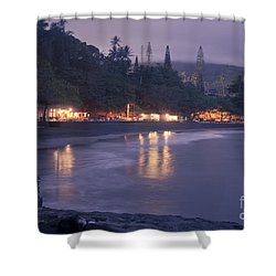Kapueokahi - Hana Bay - Sunset Hana Maui Hawaii Shower Curtain by Sharon Mau