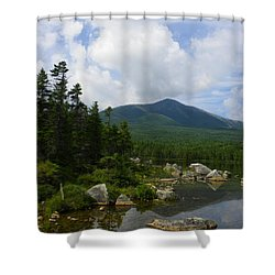 Katahdin From Sandy Stream Pond Shower Curtain by Georgia Hamlin