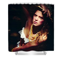 Katie White Hat Shower Curtain by Gary Gingrich Galleries