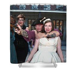 Keira's Destination Wedding - The Pirate Part Shower Curtain by Kathleen K Parker