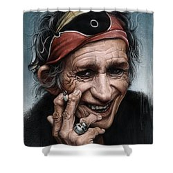 Keith Richards Shower Curtain by Andre Koekemoer