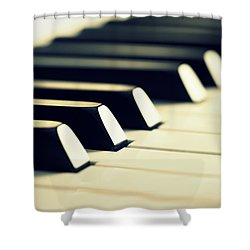 Keyboard Of A Piano Shower Curtain by Chevy Fleet