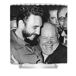 Khrushchev And Castro Shower Curtain by Underwood Archives