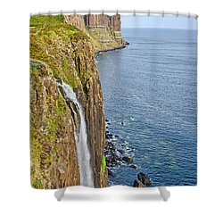 Kilt Rock Waterfall Shower Curtain by Chris Thaxter