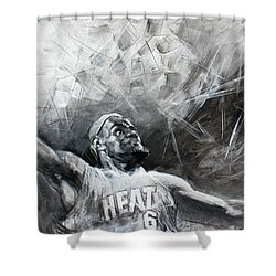 King James Lebron Shower Curtain by Ylli Haruni