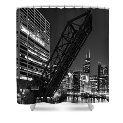 Kinzie Street Railroad Bridge At Night In Black And White Shower Curtain by Sebastian Musial