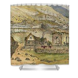 Kirk G Boe Inn And Ruins Faroe Island Circa 1862 Shower Curtain by Aged Pixel