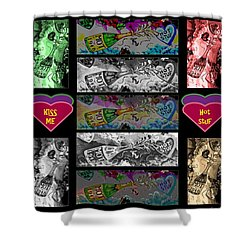 Kiss Me Hot Stuf Poster Shower Curtain by Marian Bell