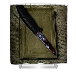 Knife With Book Shower Curtain by Joana Kruse