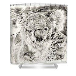 Koala Garage Girl Shower Curtain by Remrov