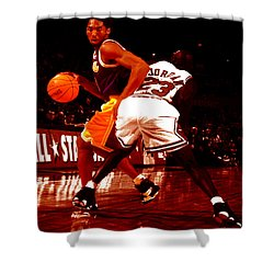 Kobe Spin Move Shower Curtain by Brian Reaves