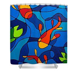 Koi Joi - Blue And Red Fish Print Shower Curtain by Sharon Cummings