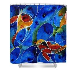 Koi Pond 2 - Liquid Fish Love Art Shower Curtain by Sharon Cummings