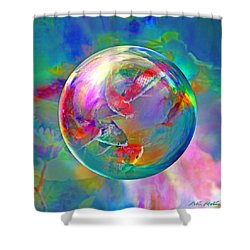 Koi Pond In The Round Shower Curtain by Robin Moline