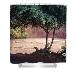 Koki Beach Kaiwiopele Haneo'o Hana Maui Hikina Hawaii Shower Curtain by Sharon Mau