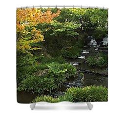 Kokoen Garden Waterfall - Himeji Japan Shower Curtain by Daniel Hagerman