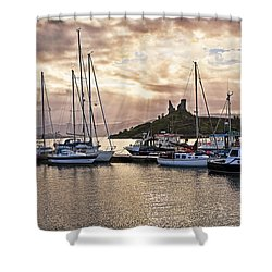 Kyleakin Harbor And Castle Moil Shower Curtain by Marcia Colelli