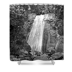 La Coca Falls El Yunque National Rainforest Puerto Rico Print Black And White Shower Curtain by Shawn O'Brien