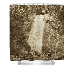 La Coca Falls El Yunque National Rainforest Puerto Rico Print Vintage Shower Curtain by Shawn O'Brien