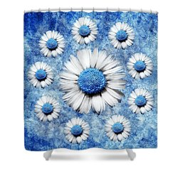 La Ronde Des Marguerites - Blue V05 Shower Curtain by Variance Collections