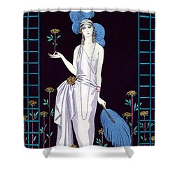 'la Roseraie' Fashion Design For An Evening Dress By The House Of Worth Shower Curtain by Georges Barbier
