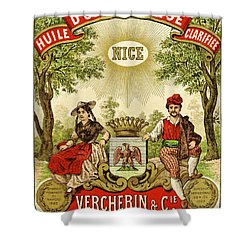 Label For Vercherin Extra Virgin Olive Oil Shower Curtain by French School