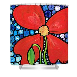 Lady In Red 2 - Buy Poppy Prints Online Shower Curtain by Sharon Cummings