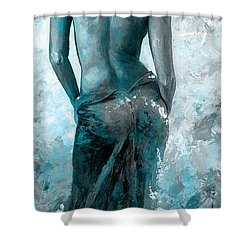 Lady In Red #27 Digital Colored Version Blue Aqua Shower Curtain by Emerico Imre Toth