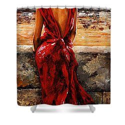 Lady In Red  34 -  I Love Budapest Shower Curtain by Emerico Imre Toth