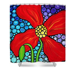 Lady In Red - Poppy Flower Art By Sharon Cummings Shower Curtain by Sharon Cummings