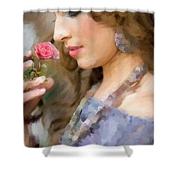 Lady With Pink Rose Shower Curtain by Angela A Stanton