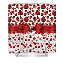 Ladybug Magic Shower Curtain by Debra  Miller