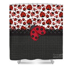 Ladybug Mood  Shower Curtain by Debra  Miller