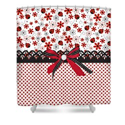 Ladybug Whisper  Shower Curtain by Debra  Miller