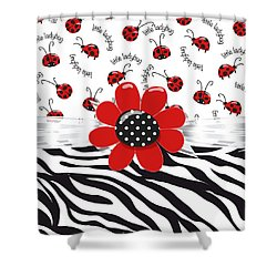 Ladybug Wild Thing Shower Curtain by Debra  Miller